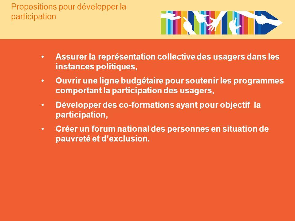 Propositions pour développer la participation