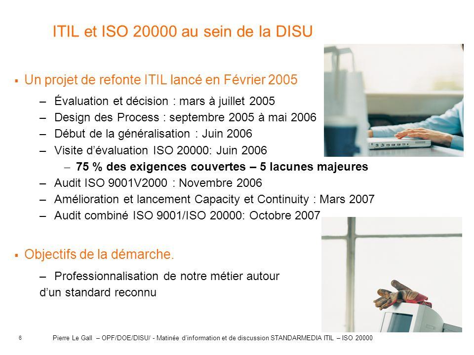 ITIL et ISO 20000 au sein de la DISU