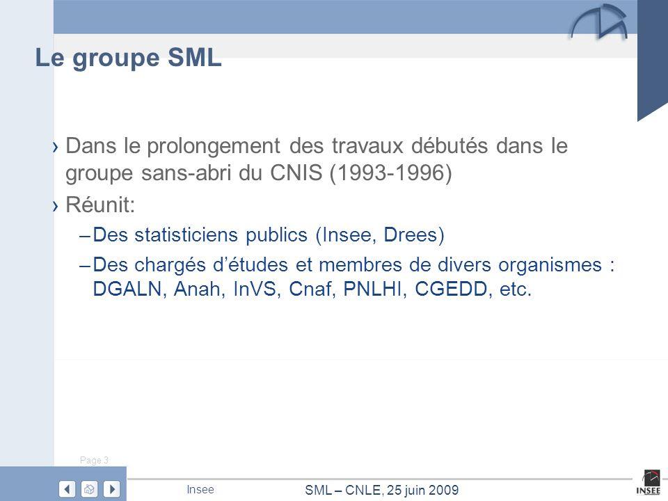 Le groupe SML Dans le prolongement des travaux débutés dans le groupe sans-abri du CNIS (1993-1996)