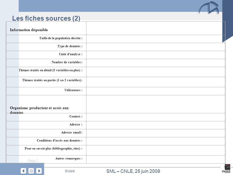 Les fiches sources (2) Information disponible