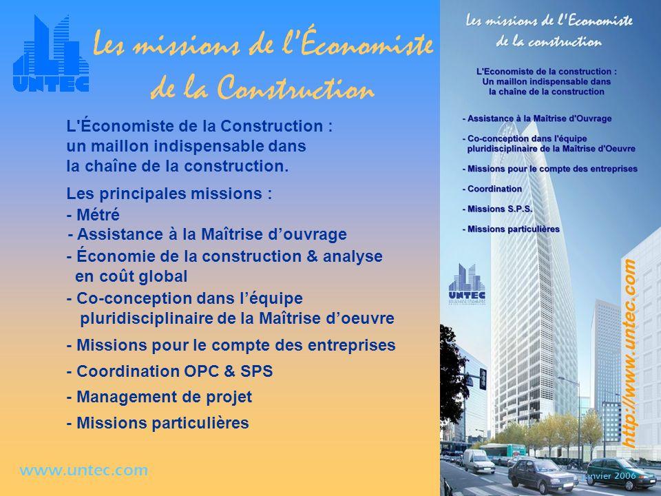 Les missions de l'Économiste de la Construction