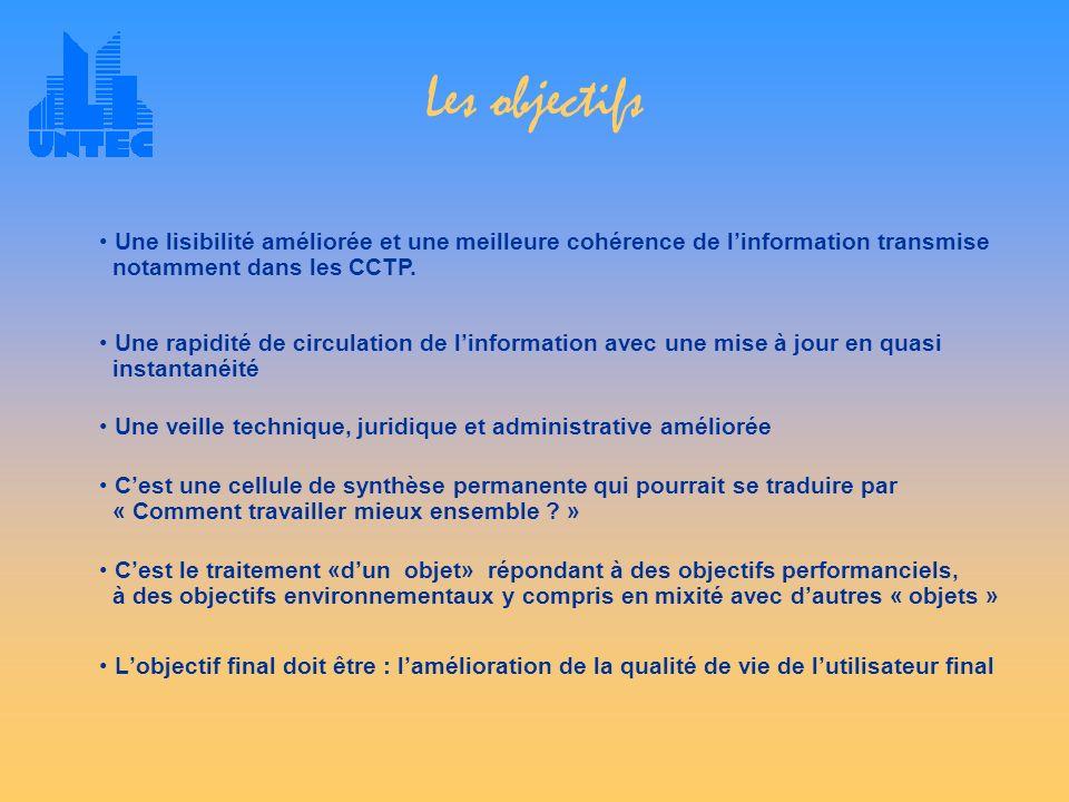 Les objectifs Une lisibilité améliorée et une meilleure cohérence de l'information transmise notamment dans les CCTP.