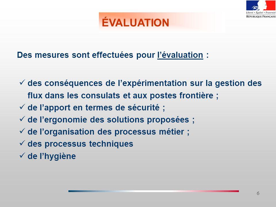 ÉVALUATION Des mesures sont effectuées pour l'évaluation :