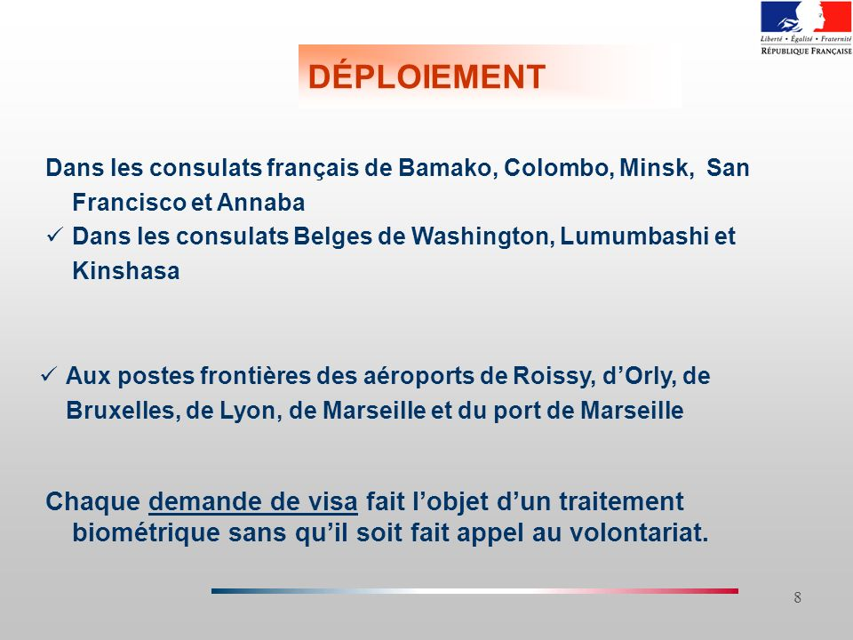 26/03/2017 DÉPLOIEMENT. Dans les consulats français de Bamako, Colombo, Minsk, San Francisco et Annaba.