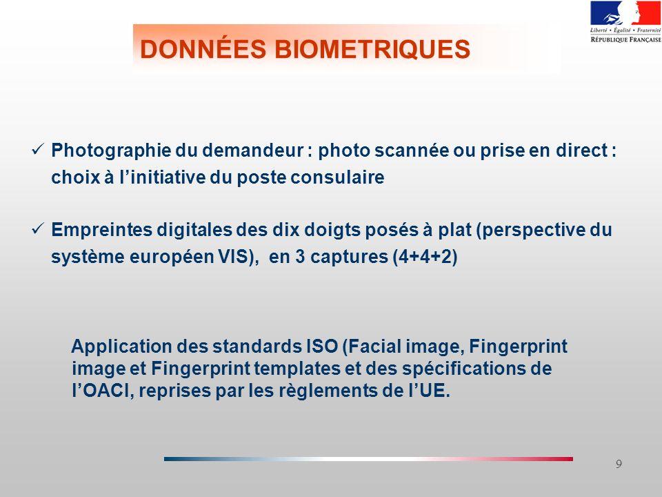 26/03/2017 DONNÉES BIOMETRIQUES. Photographie du demandeur : photo scannée ou prise en direct : choix à l'initiative du poste consulaire.