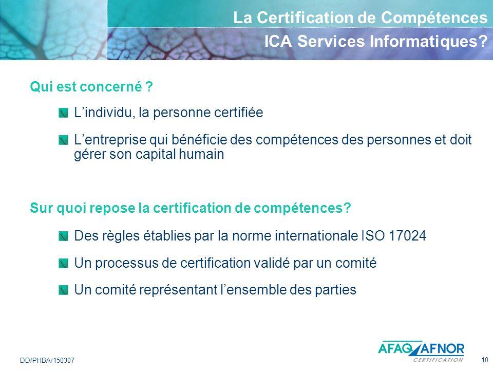 La Certification de Compétences ICA Services Informatiques