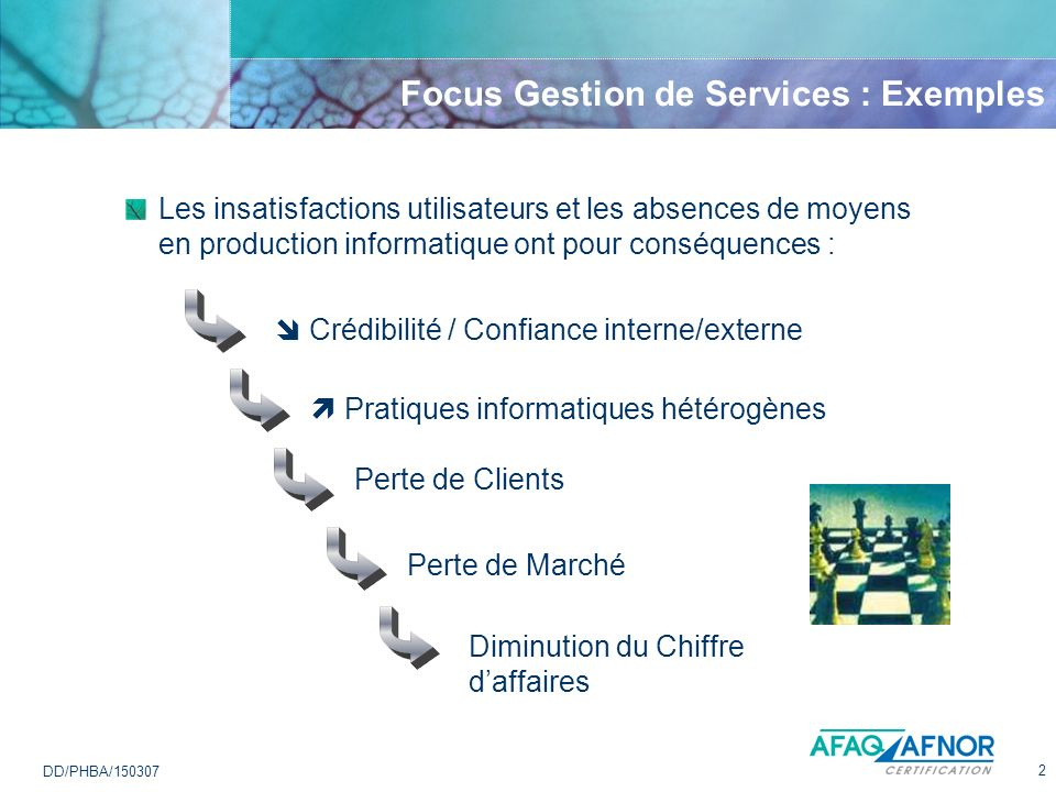 Focus Gestion de Services : Exemples