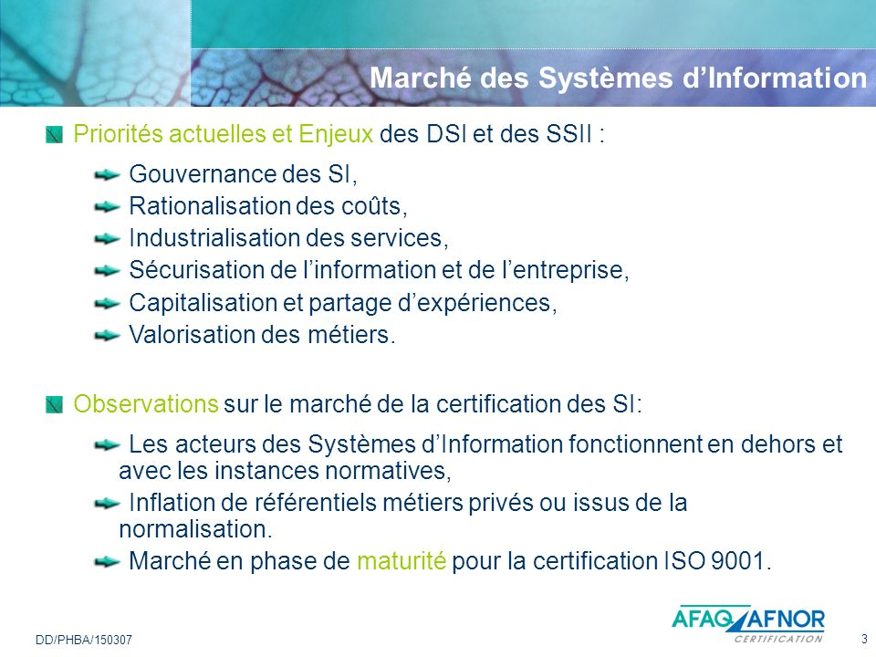 Marché des Systèmes d'Information