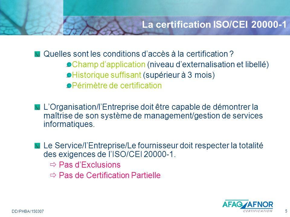 La certification ISO/CEI 20000-1