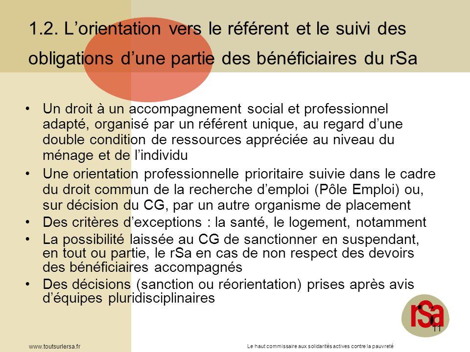1.2. L'orientation vers le référent et le suivi des obligations d'une partie des bénéficiaires du rSa