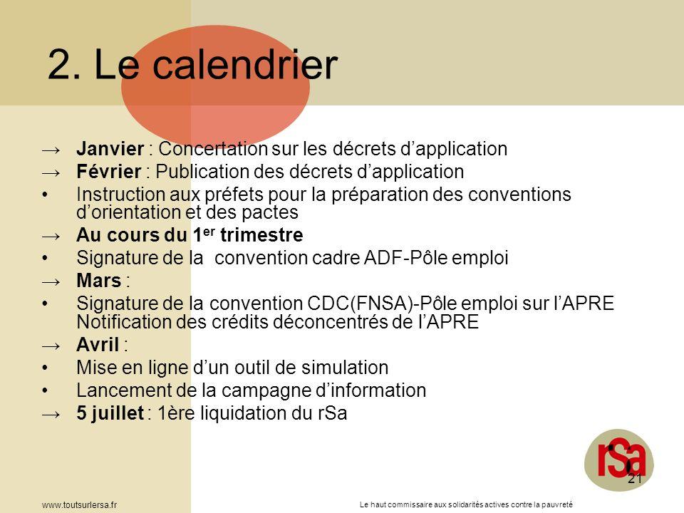2. Le calendrier Janvier : Concertation sur les décrets d'application