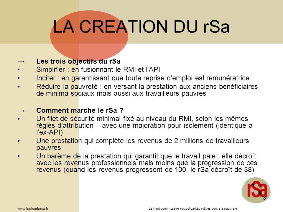 LA CREATION DU rSa Les trois objectifs du rSa