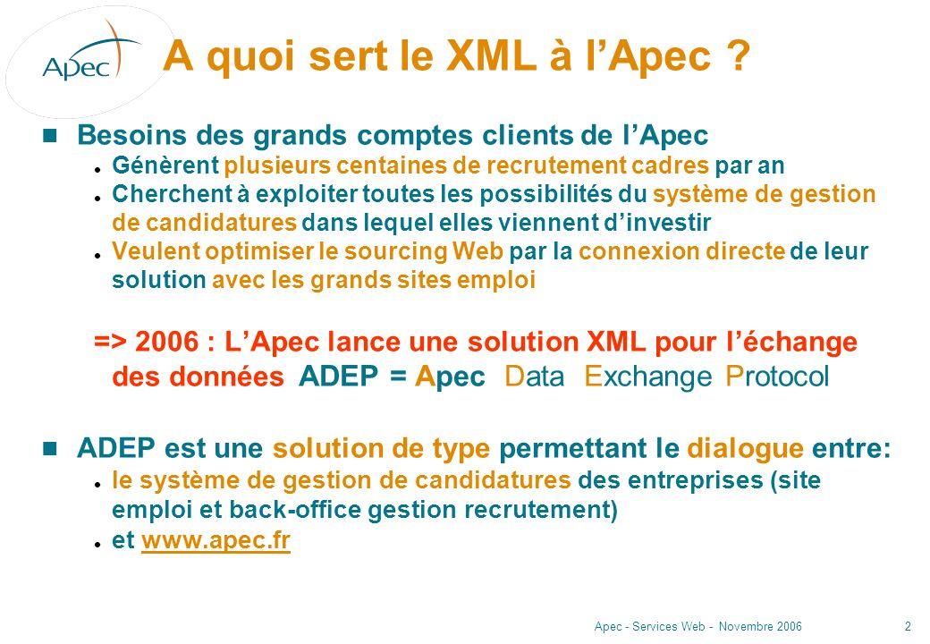A quoi sert le XML à l'Apec