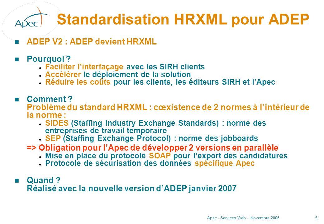 Standardisation HRXML pour ADEP
