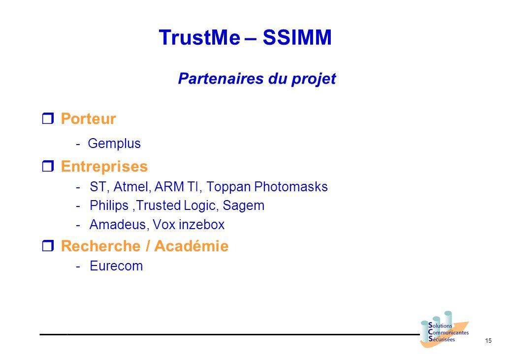 TrustMe – SSIMM - Gemplus Partenaires du projet Porteur Entreprises