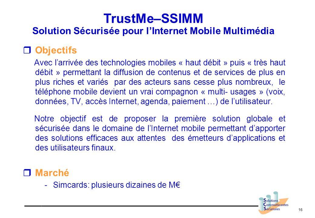 TrustMe–SSIMM Solution Sécurisée pour l'Internet Mobile Multimédia