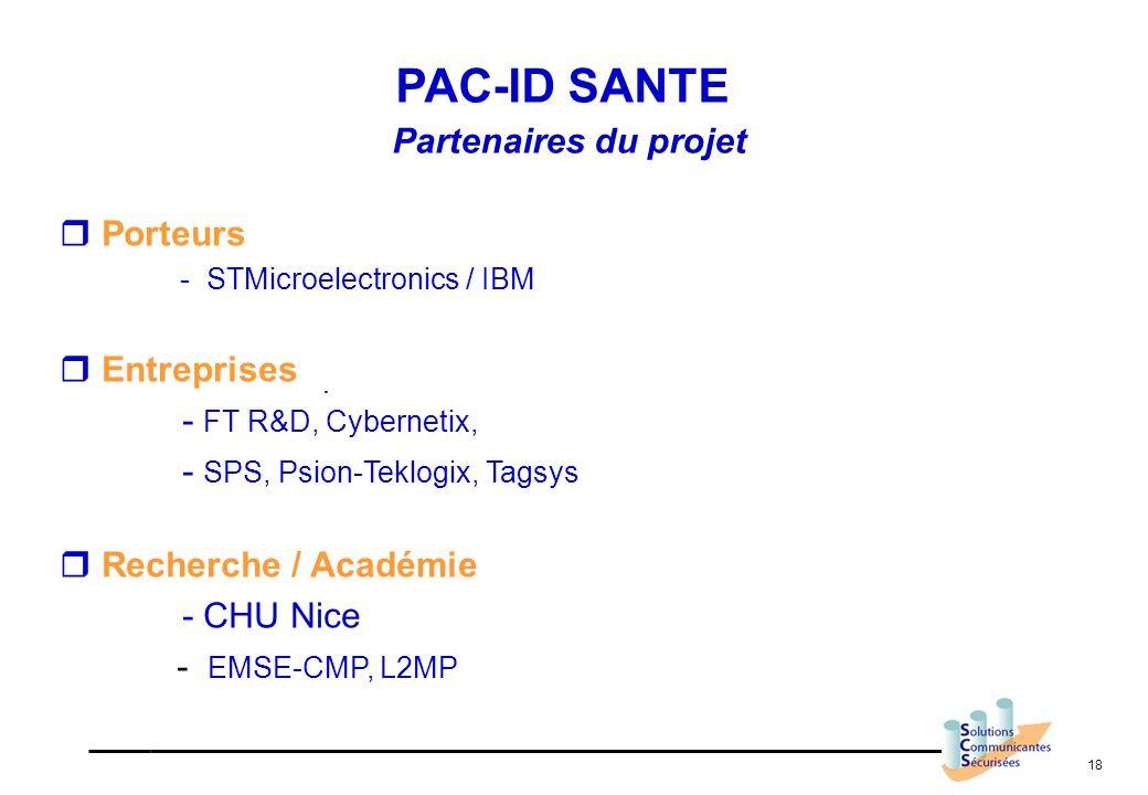 PAC-ID SANTE Partenaires du projet