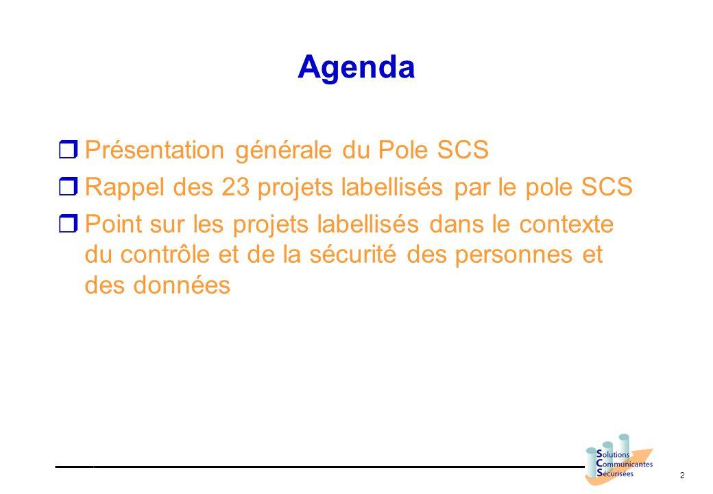 Agenda Présentation générale du Pole SCS
