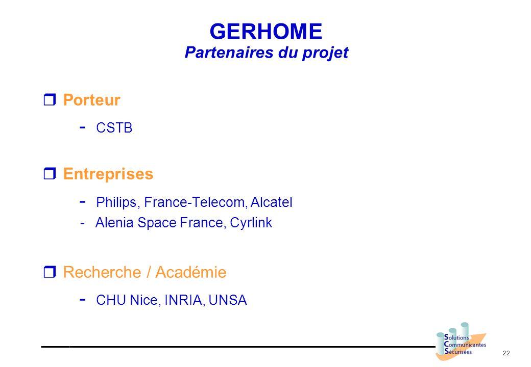 GERHOME Partenaires du projet