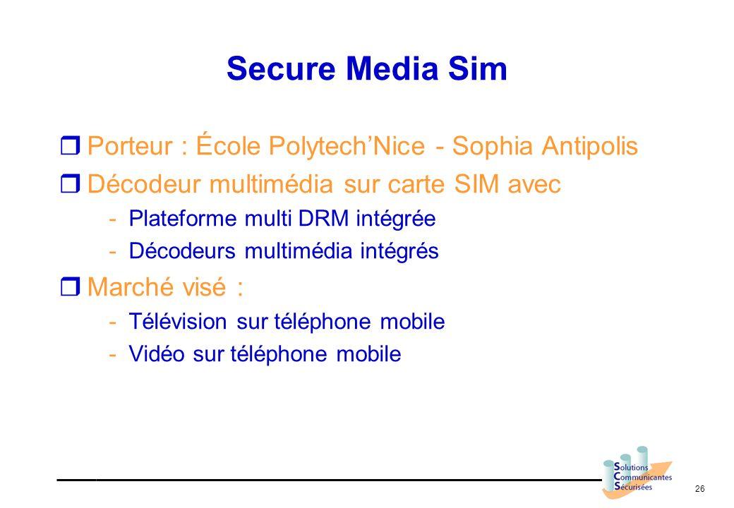 Secure Media Sim Porteur : École Polytech'Nice - Sophia Antipolis