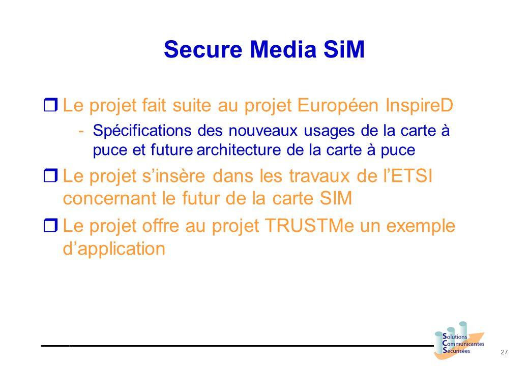 Secure Media SiM Le projet fait suite au projet Européen InspireD