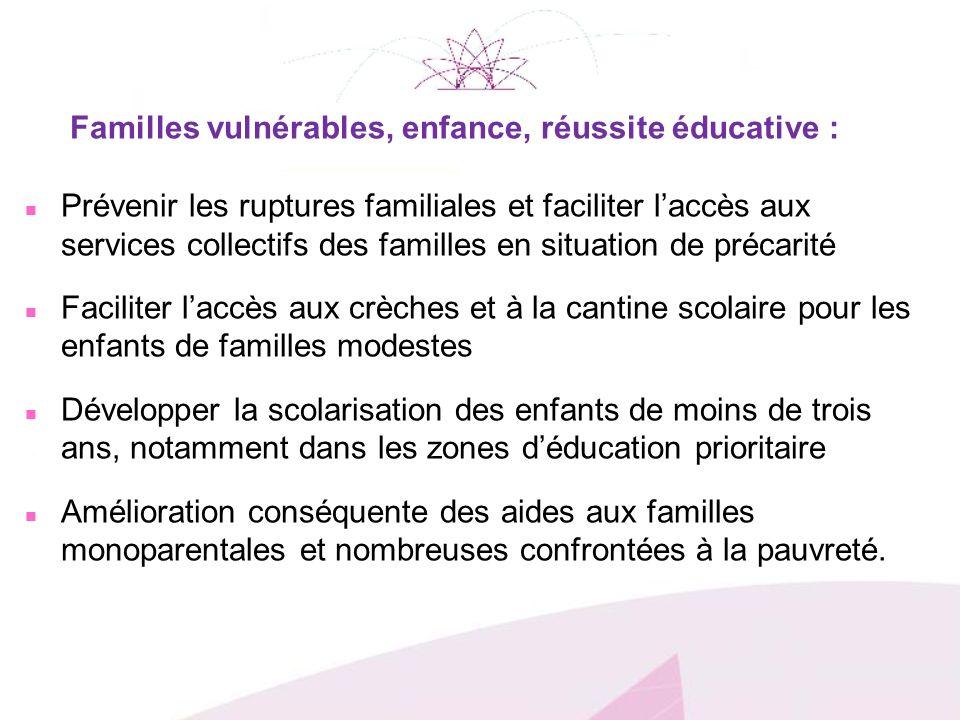 Familles vulnérables, enfance, réussite éducative :