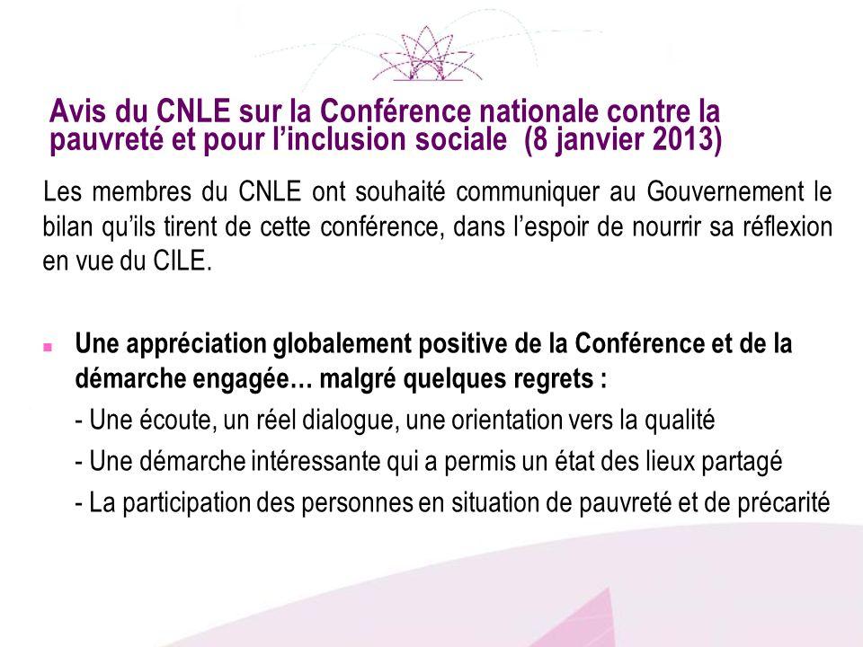 Avis du CNLE sur la Conférence nationale contre la pauvreté et pour l'inclusion sociale (8 janvier 2013)