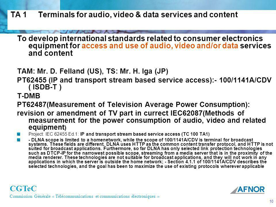 TA 1 Terminals for audio, video & data services and content
