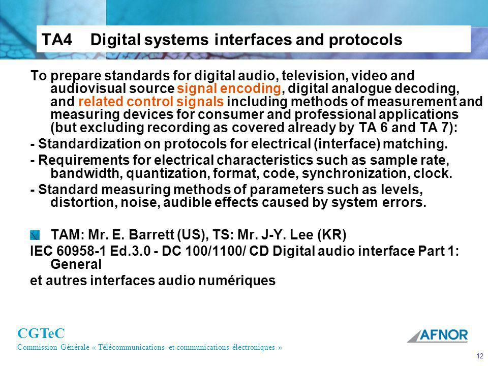 TA4 Digital systems interfaces and protocols