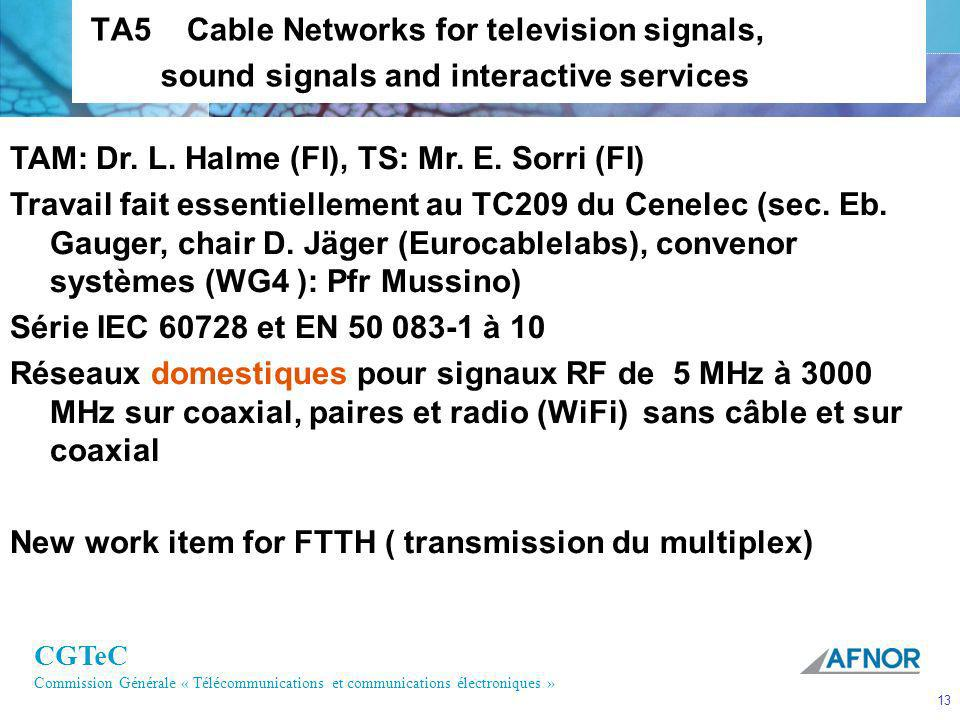 TA5 Cable Networks for television signals, sound signals and interactive services
