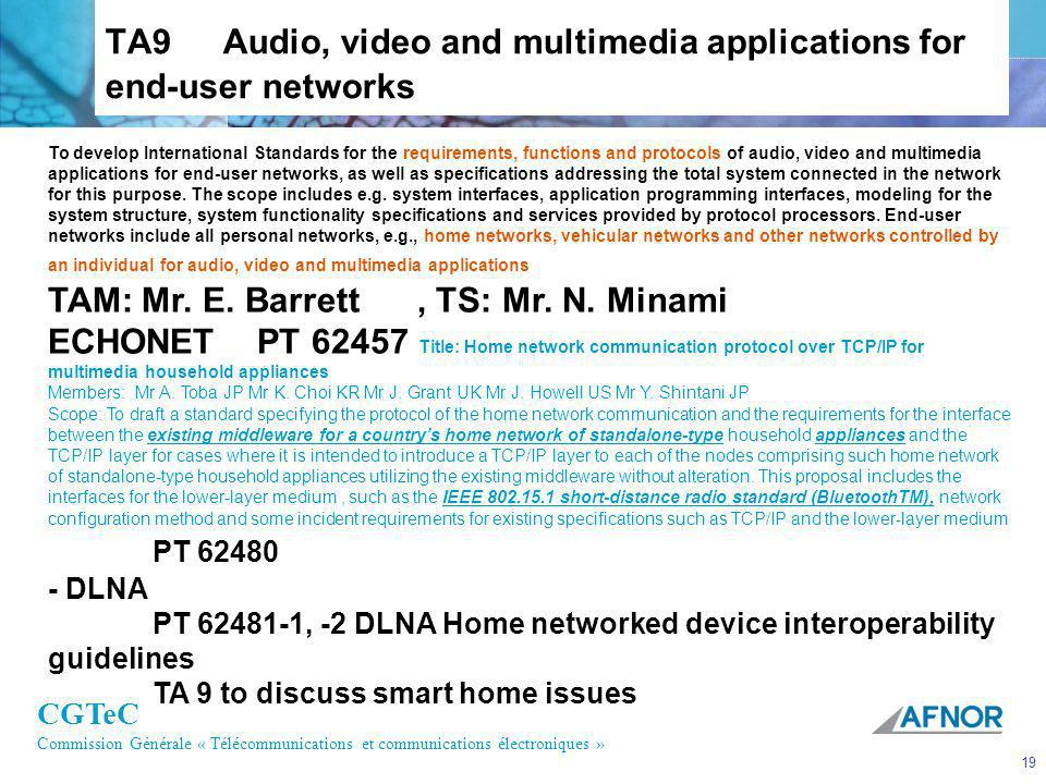 TA9 Audio, video and multimedia applications for end-user networks