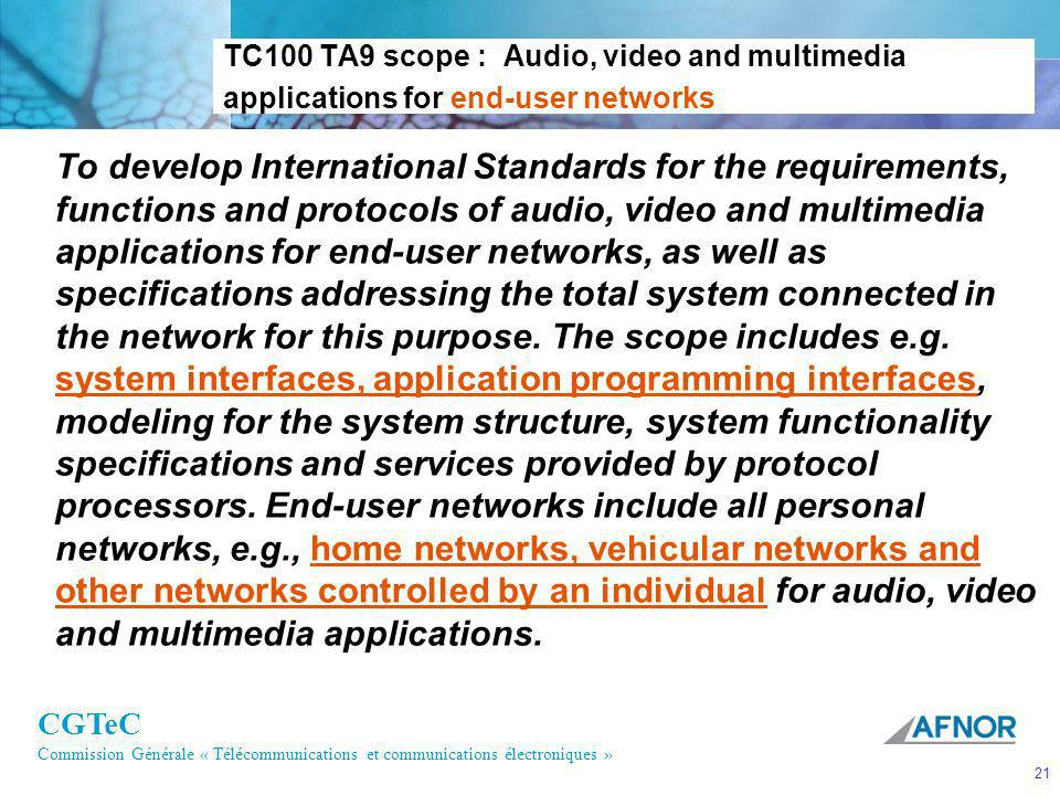 TC100 TA9 scope : Audio, video and multimedia applications for end-user networks
