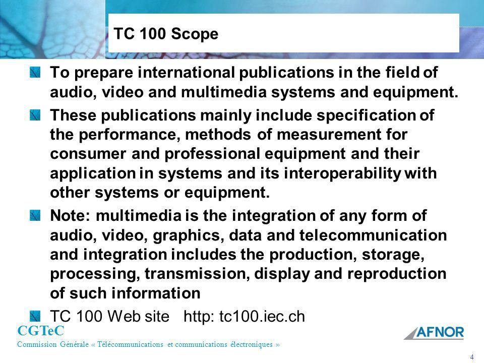 TC 100 Scope To prepare international publications in the field of audio, video and multimedia systems and equipment.