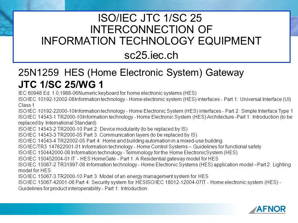 ISO/IEC JTC 1/SC 25 INTERCONNECTION OF INFORMATION TECHNOLOGY EQUIPMENT