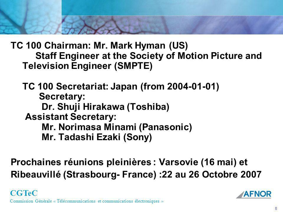 TC 100 Chairman: Mr. Mark Hyman (US) Staff Engineer at the Society of Motion Picture and Television Engineer (SMPTE) TC 100 Secretariat: Japan (from 2004-01-01) Secretary: Dr. Shuji Hirakawa (Toshiba) Assistant Secretary: Mr. Norimasa Minami (Panasonic) Mr. Tadashi Ezaki (Sony)