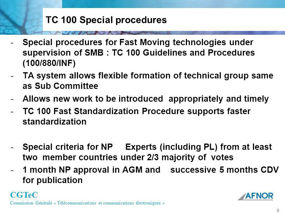TC 100 Special procedures Special procedures for Fast Moving technologies under supervision of SMB : TC 100 Guidelines and Procedures (100/880/INF)