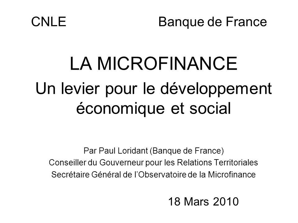 LA MICROFINANCE Un levier pour le développement économique et social