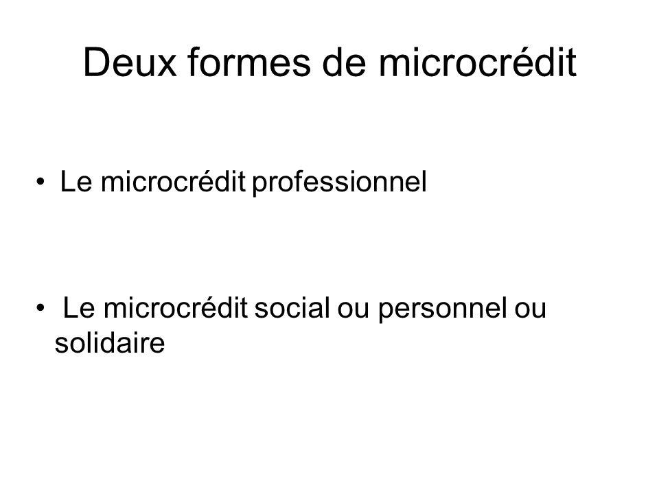 Deux formes de microcrédit