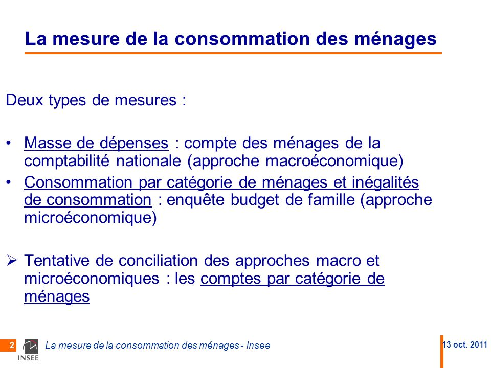 La mesure de la consommation des ménages