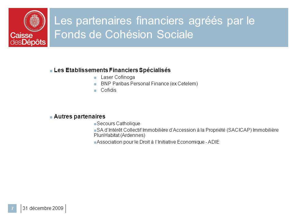 Les partenaires financiers agréés par le Fonds de Cohésion Sociale