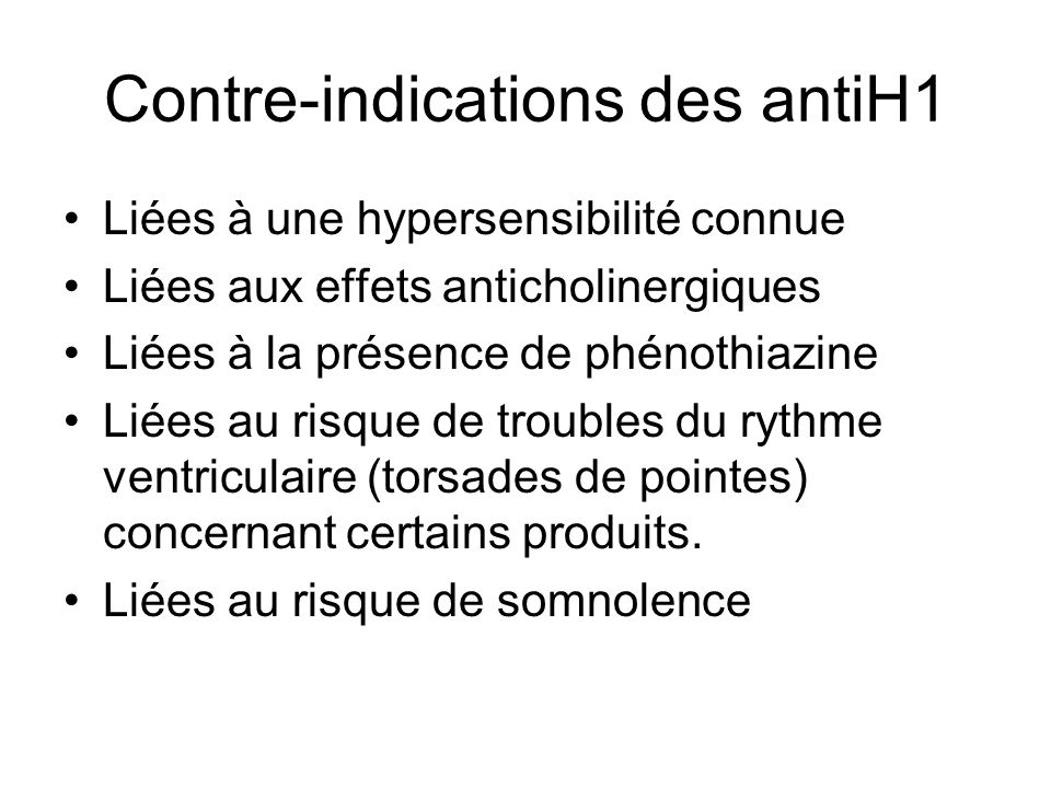 Contre-indications des antiH1