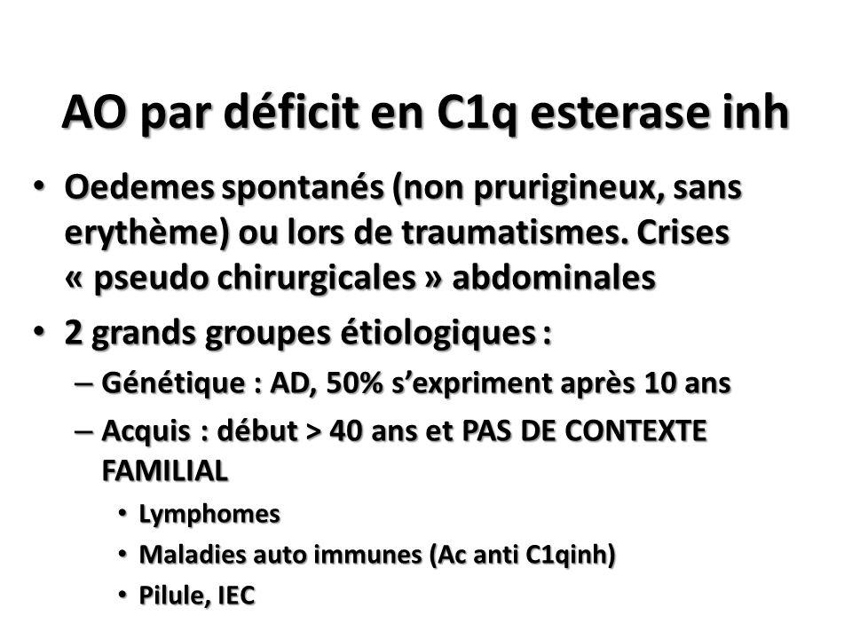AO par déficit en C1q esterase inh