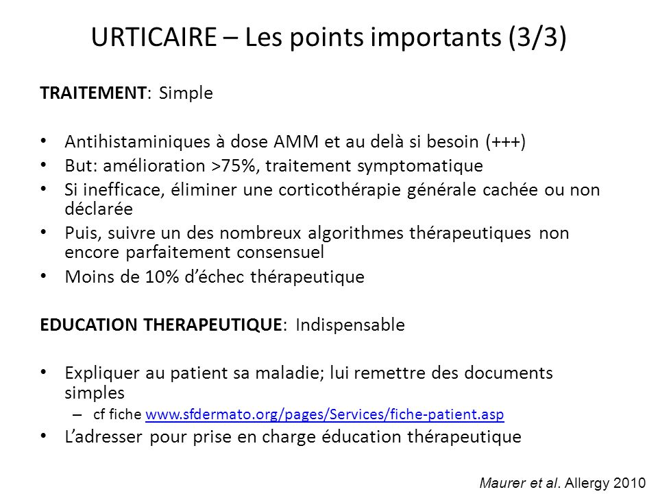 URTICAIRE – Les points importants (3/3)