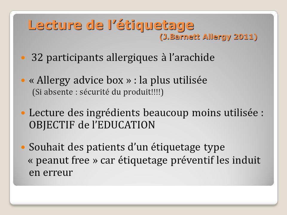 Lecture de l'étiquetage (J.Barnett Allergy 2011)