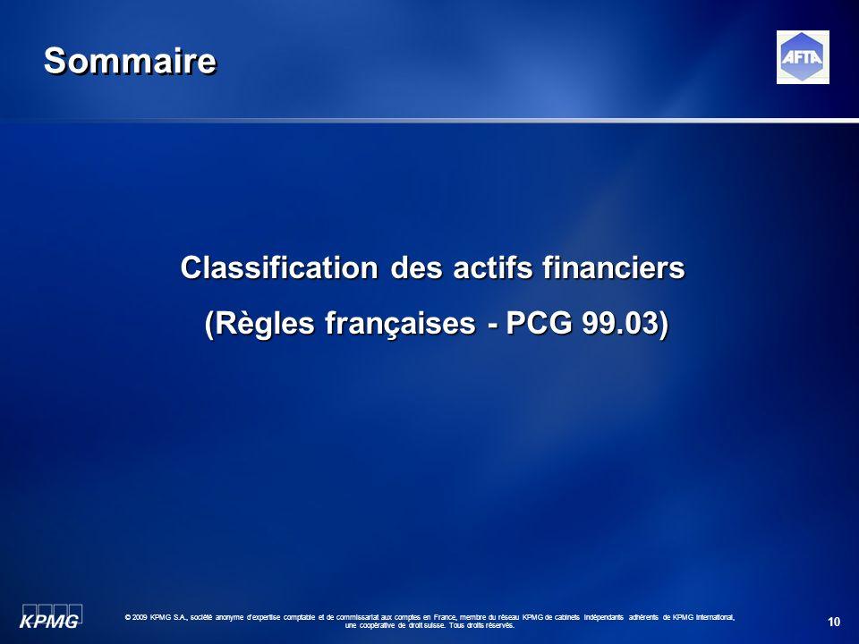 Classification des actifs financiers (Règles françaises - PCG 99.03)