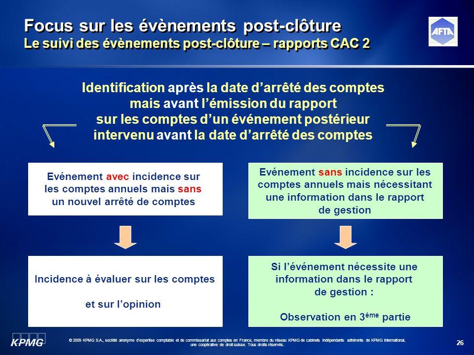 Focus sur les évènements post-clôture Le suivi des évènements post-clôture – rapports CAC 2