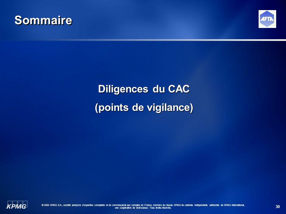Sommaire Diligences du CAC (points de vigilance)