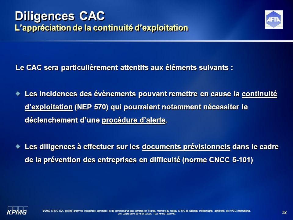 Diligences CAC L'appréciation de la continuité d'exploitation