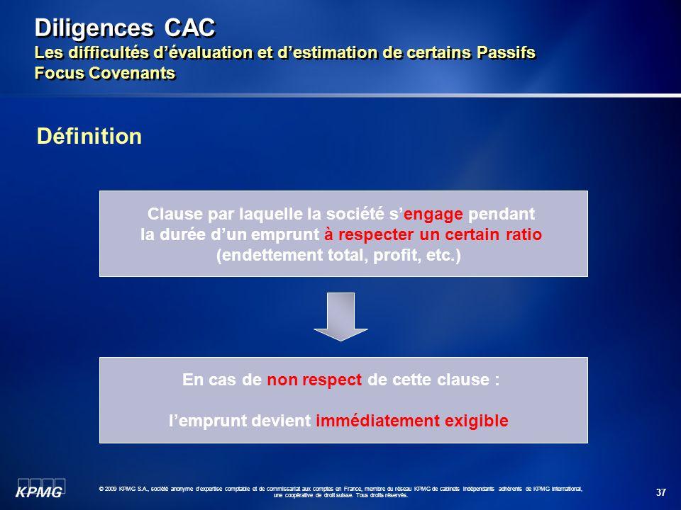 Diligences CAC Les difficultés d'évaluation et d'estimation de certains Passifs Focus Covenants