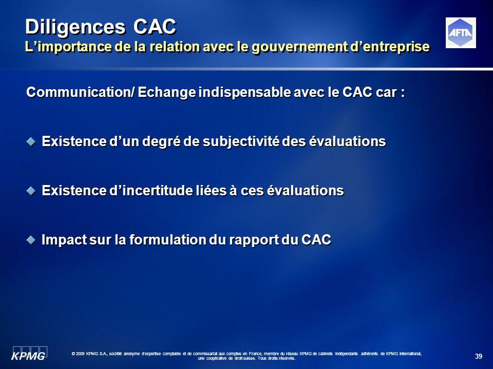 Diligences CAC L'importance de la relation avec le gouvernement d'entreprise